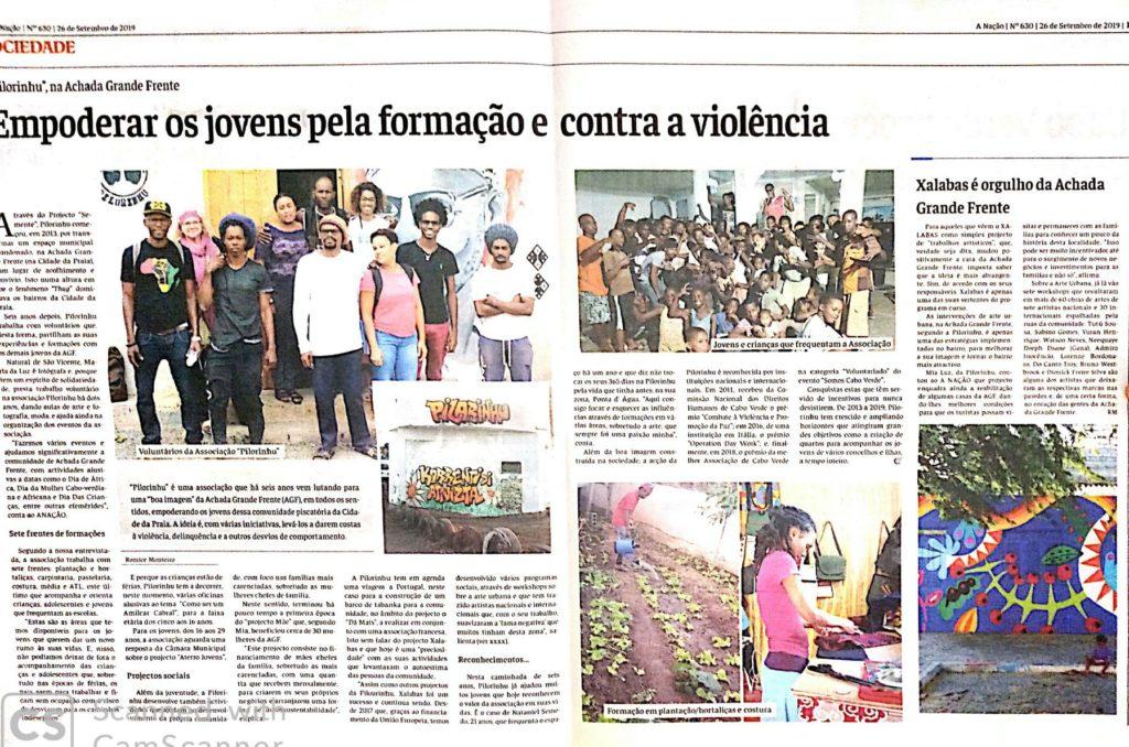 Artigo de Romice Monteiro no A Nação Jornal Independente sobre a Associação Pilorinhu e o projeto Xalabas no bairro de Achada Grande.