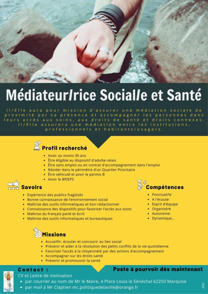 Offre Médiateur(rice) Social(e) et Santé - Commune de Marquise